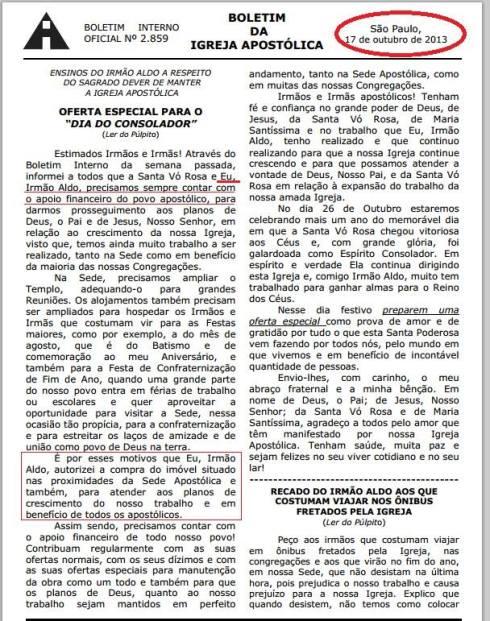 Boletim Igreja Apostólica 17-10-2013
