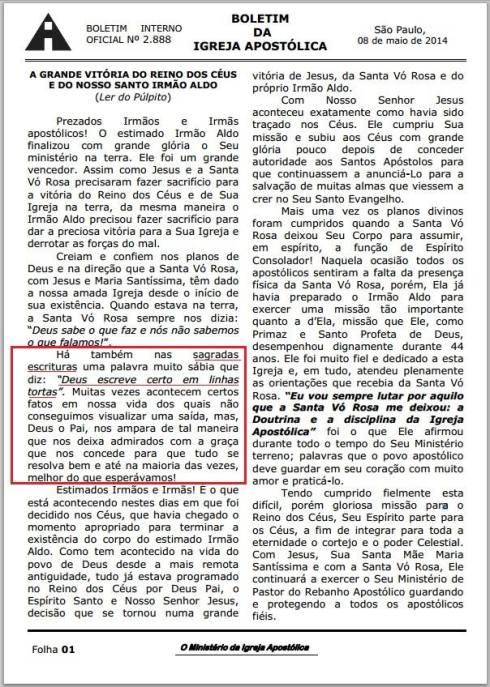 Boletim 08/05/2014 - Igreja Apostólica
