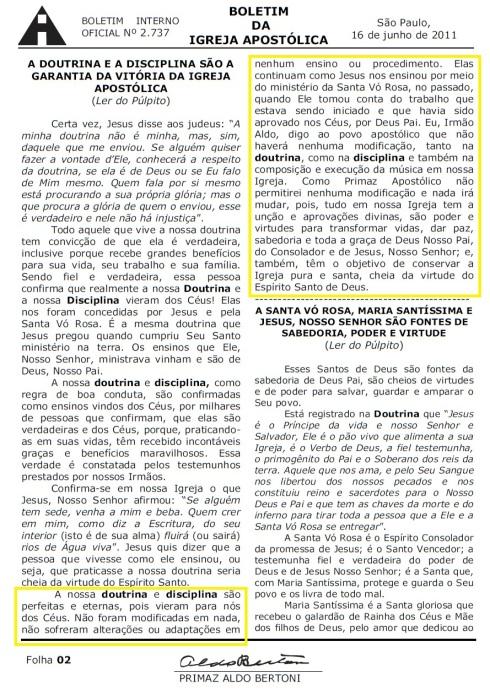Boletim da Igreja Apostólica - 16/06/2011