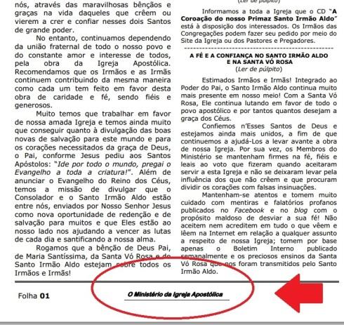 Novo Boletim - Igreja Apostólica