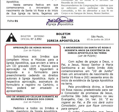 Boletim da Igreja Apostólica - 05/06/2014