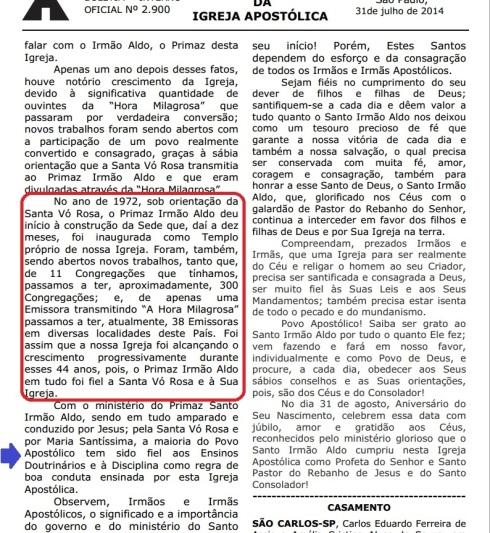 Boletim Igreja Apostólica - 25/08/2014