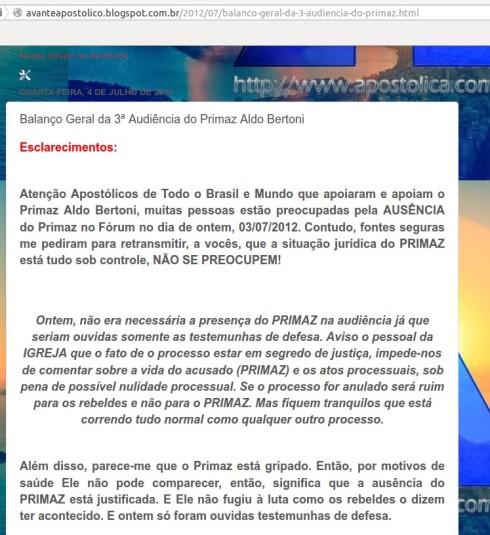 Blog Avante Apostolico - 04/07/2012