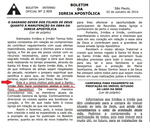Destaque Boletim - Igreja Apostólica