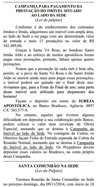 Destaque Boletim da Igreja Apostólica